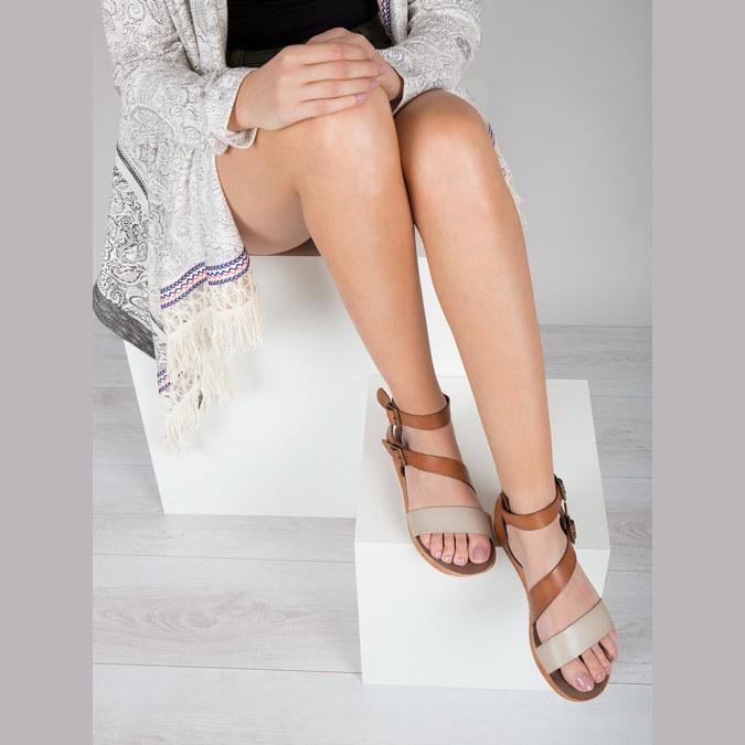 Skórzane sandały na kontrastowej podeszwie weinbrenner, brązowy, 566-4627 - 14