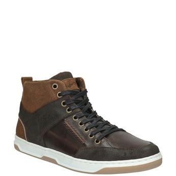 Skórzane trampki za kostkę bata, brązowy, 846-4640 - 13
