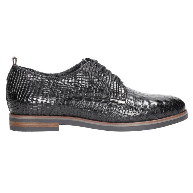 Skórzane półbuty damskie zfakturą bata, czarny, 526-6637 - 15