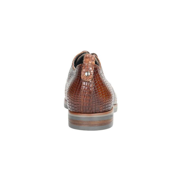 Skórzane półbuty zfakturą bata, brązowy, 526-4637 - 17