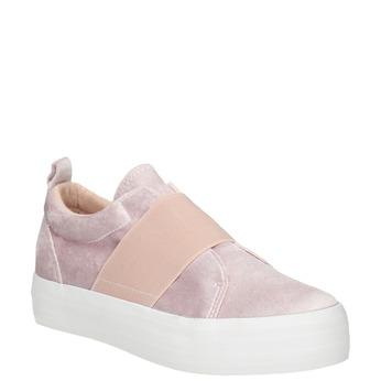 Różowe aksamitne slip-on north-star, różowy, 519-5604 - 13