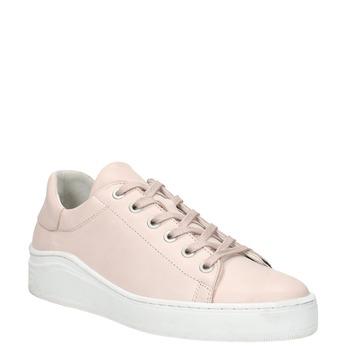 Skórzane trampki damskie bata, różowy, 526-5641 - 13