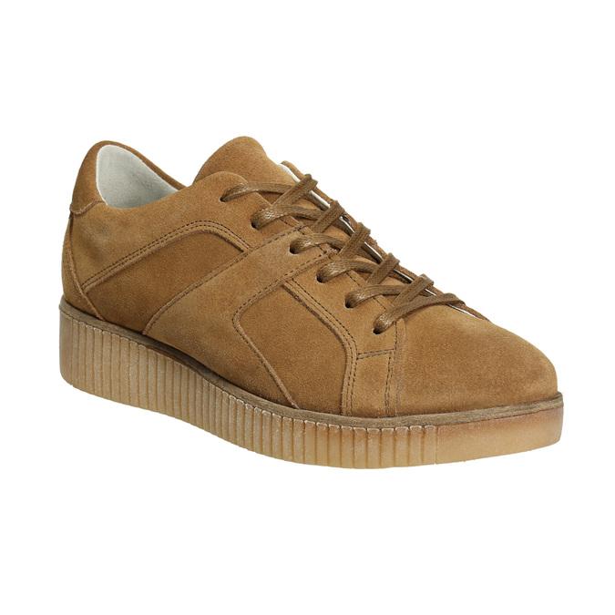 Brązowe trampki ze skóry bata, brązowy, 523-8604 - 13