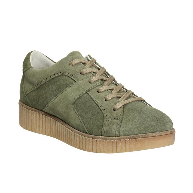 Skórzane trampki damskie wkolorze khaki bata, zielony, 523-7604 - 13