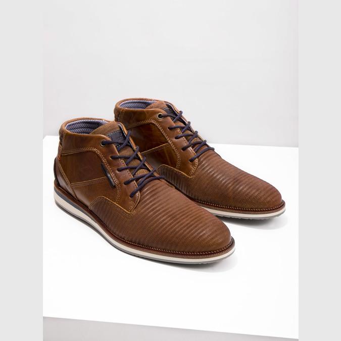 Nieformalne skórzane obuwie za kostkę bata, brązowy, 826-3912 - 14
