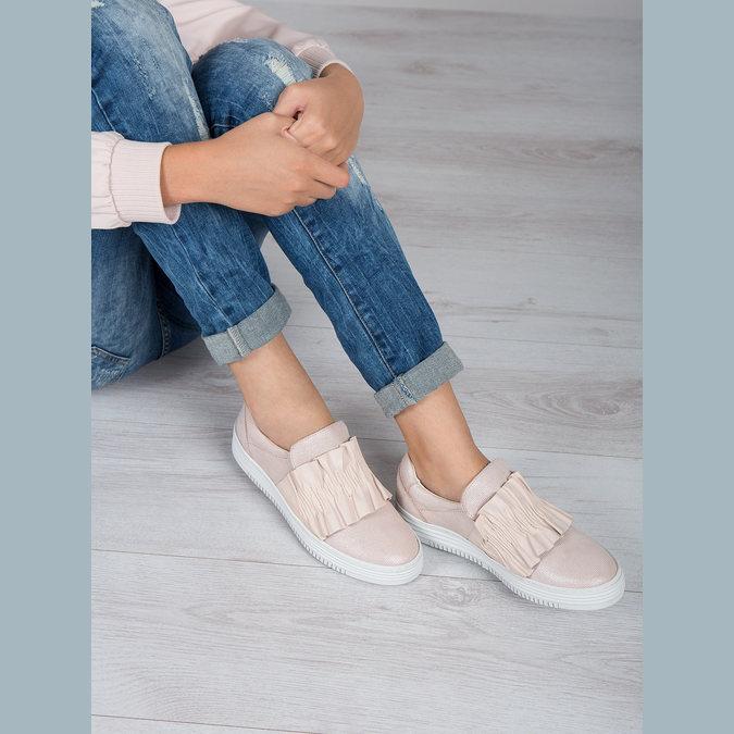 Skórzane slip-on damskie bata, różowy, 516-5614 - 18