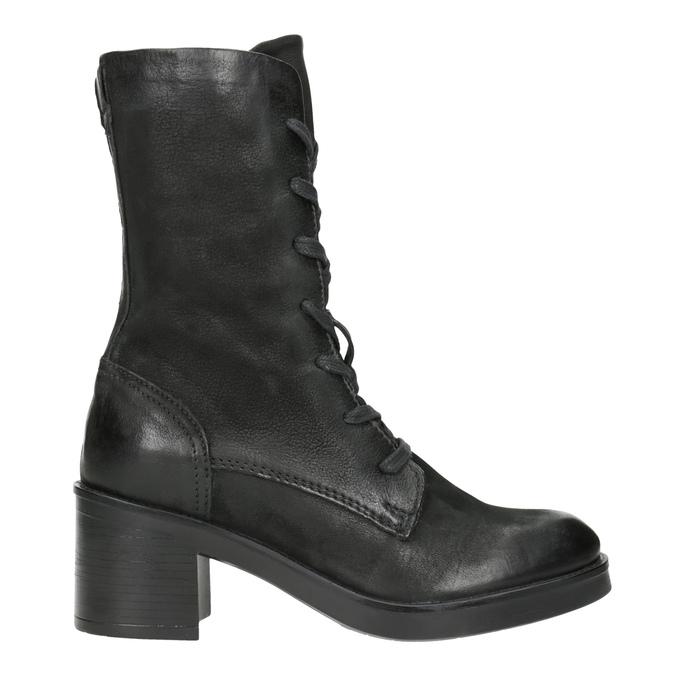 Czarne skórzane kozaki bata, czarny, 696-6646 - 26