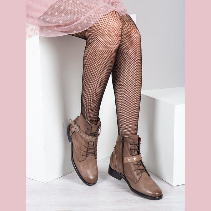 Botki damskie zklamrami bata, brązowy, 596-4661 - 18