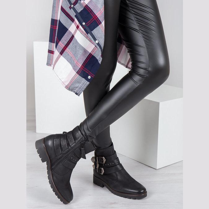 Buty ze skóry za kostkę z klamrami bata, czarny, 596-6660 - 18