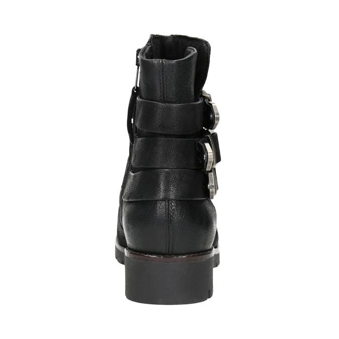 Buty ze skóry za kostkę z klamrami bata, czarny, 596-6660 - 16