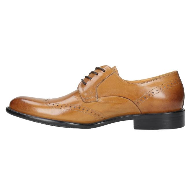 Skórzane półbuty męskie ze zdobieniami brogue bata, brązowy, 824-3227 - 26