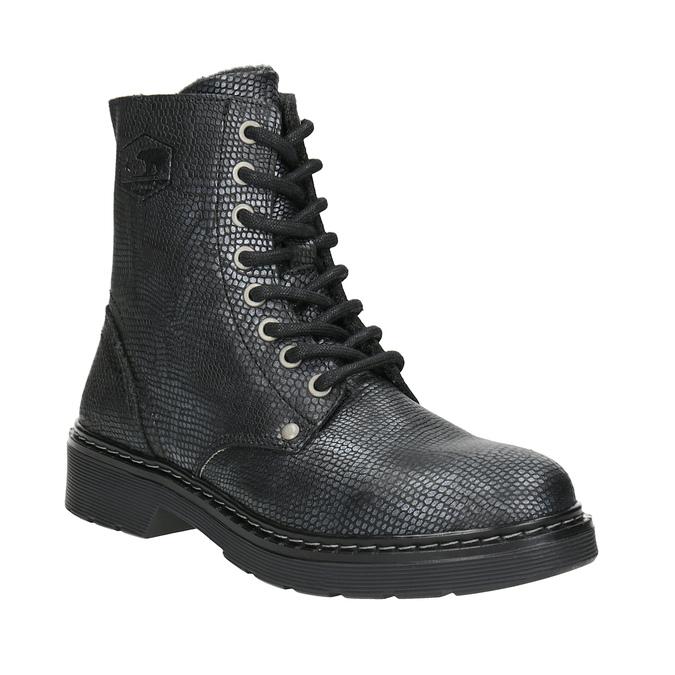 Dziecięce sznurowane buty ze skóry, czarny, 496-6016 - 13