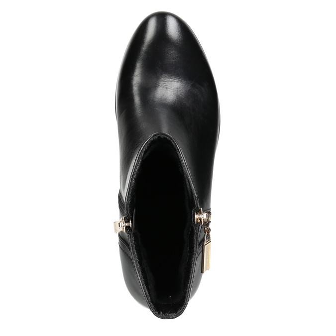 Skórzane botki ze złotymi zamkami błyskawicznymi bata, czarny, 594-6654 - 26