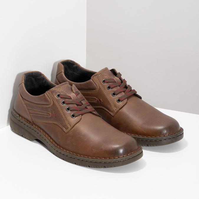 Brązowe nieformalne półbuty ze skóry bata, brązowy, 826-4918 - 26