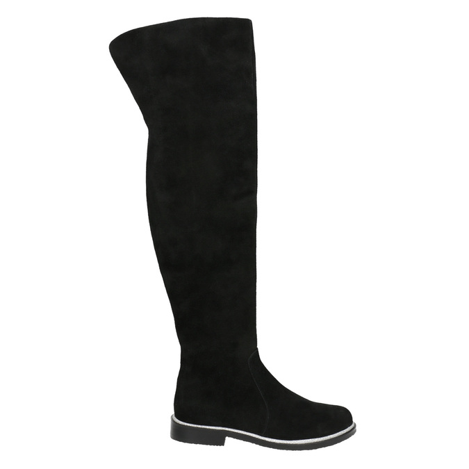Zamszowe kozaki za kolana bata, czarny, 593-6605 - 15