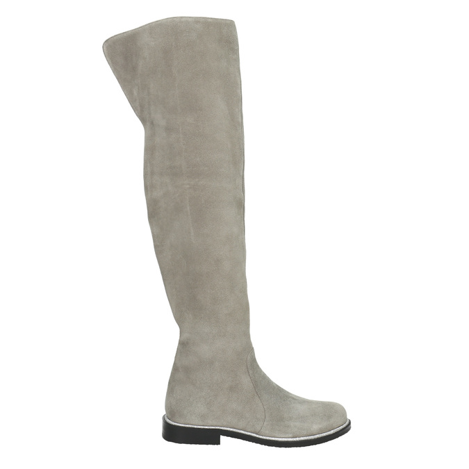 Szare skórzane kozaki za kolana bata, szary, 593-2605 - 15