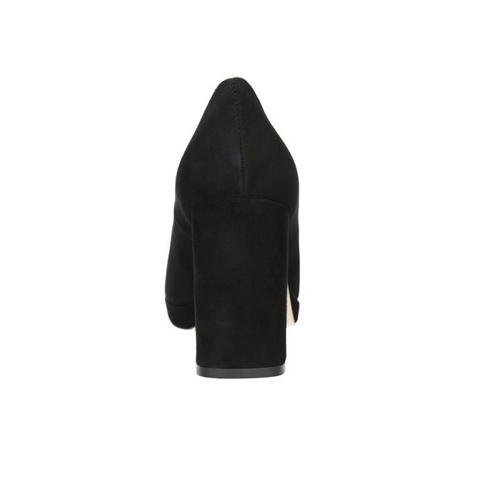 Skórzane czółenka na grubych słupkach bata, czarny, 723-6950 - 16