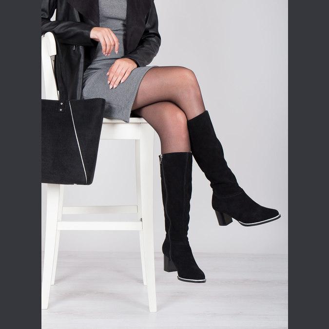 Czarne zamszowe kozaki bata, czarny, 693-6603 - 14