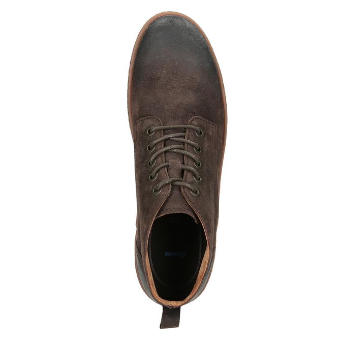 Skórzane buty męskie za kostkę bata, brązowy, 846-4653 - 15