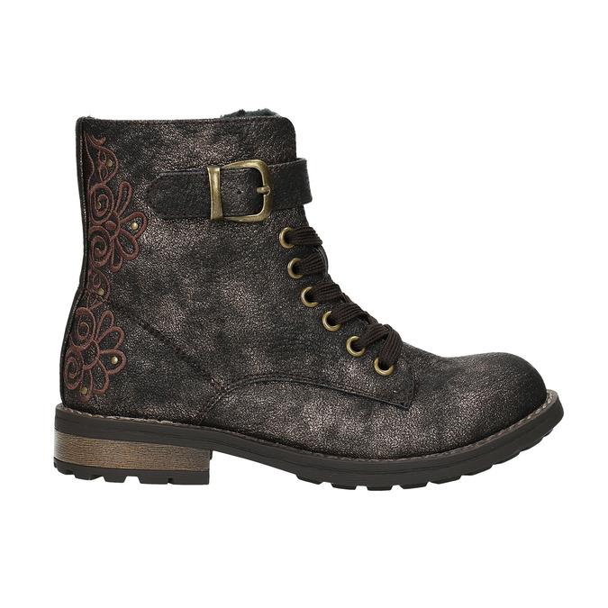 Zimowe buty dziecięce zhaftem mini-b, brązowy, 391-8654 - 15
