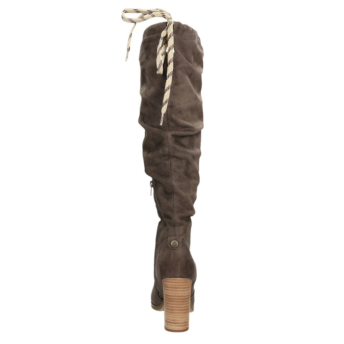 Kozaki damskie zmarszczeniami bata, brązowy, 799-4614 - 17