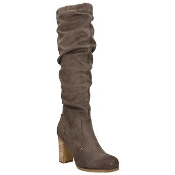 Kozaki damskie zmarszczeniami bata, brązowy, 799-4614 - 13