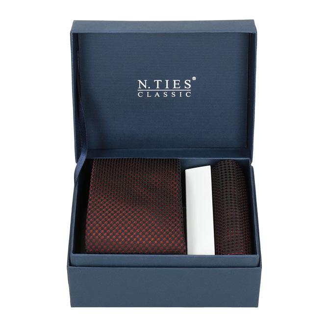Komplet krawatu iposzetki wdeseń bata, czerwony, 999-5292 - 13