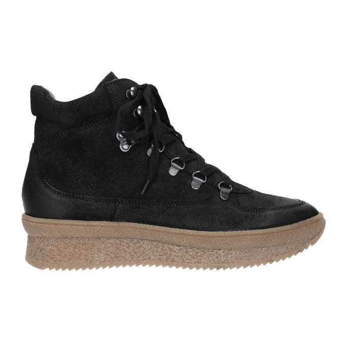 Skórzane sznurowane botki bata, czarny, 596-6673 - 26