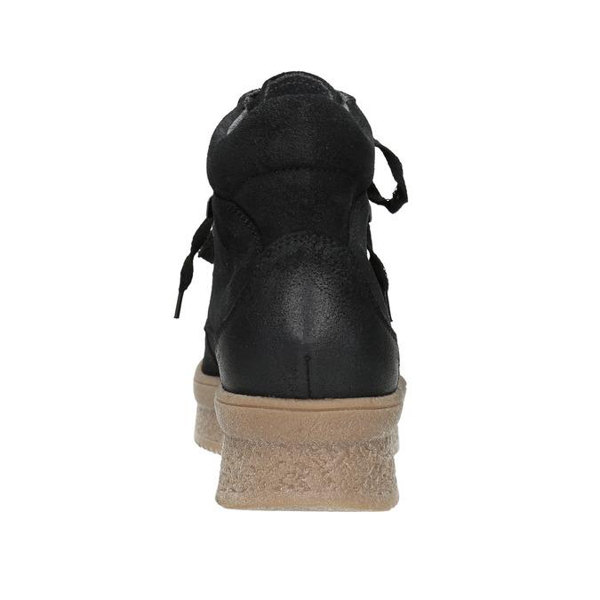 Skórzane sznurowane botki bata, czarny, 596-6673 - 16