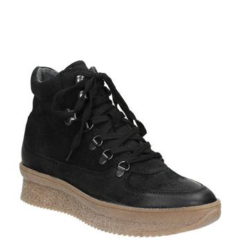 Skórzane sznurowane botki bata, czarny, 596-6673 - 13