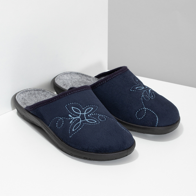 Granatowe kapcie damskie bata, niebieski, 579-9621 - 26