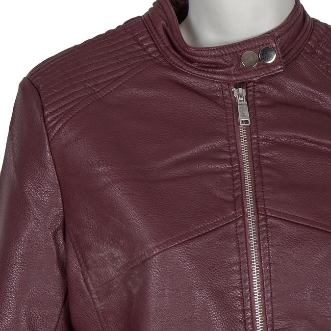 Bordowa kurtka ze skóry ekologicznej bata, czerwony, 971-5203 - 16