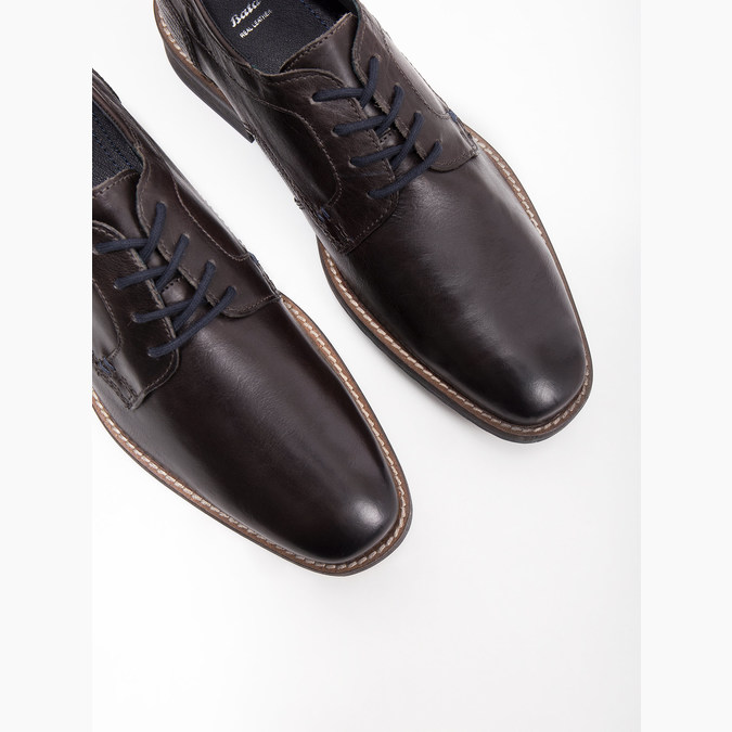 Nieformalne skórzane półbuty zfakturą bata, szary, 826-2612 - 14