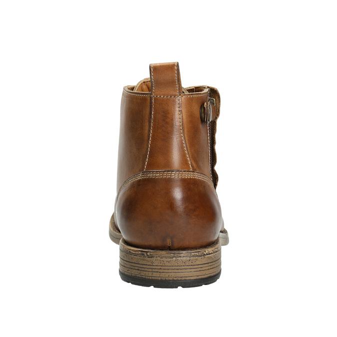 Brązowe skórzane buty za kostkę bata, brązowy, 896-3684 - 17