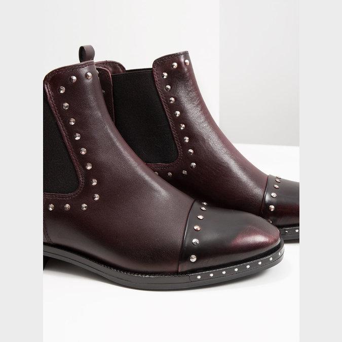 Skórzane obuwie damskie typu chelsea bata, czerwony, 596-5679 - 14