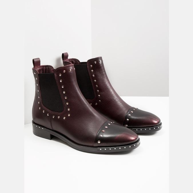 Skórzane obuwie damskie typu chelsea bata, czerwony, 596-5679 - 18