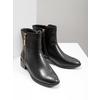 Skórzane botki ze złotymi zamkami błyskawicznymi bata, czarny, 594-6654 - 18