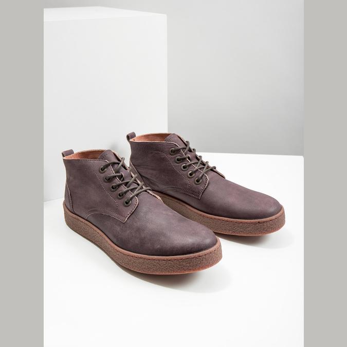 Skórzane buty męskie za kostkę bata, brązowy, 846-4652 - 18