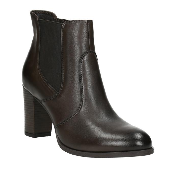 Skórzane buty za kostkę na obcasie bata, brązowy, 796-4647 - 13