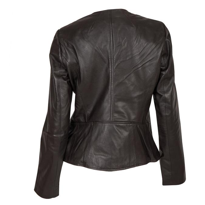 Skórzana kurtka damska zasymetrycznym zamkiem błyskawicznym bata, brązowy, 974-4177 - 26