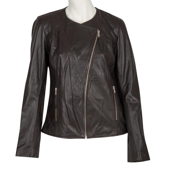 Skórzana kurtka damska zasymetrycznym zamkiem błyskawicznym bata, brązowy, 974-4177 - 13