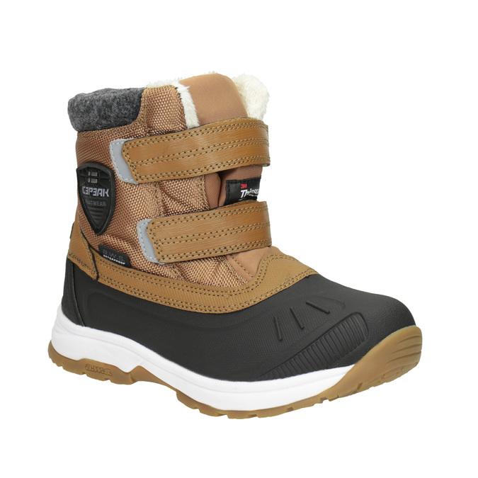 Zimowe buty dziecięce na rzepy, brązowy, 399-3018 - 13
