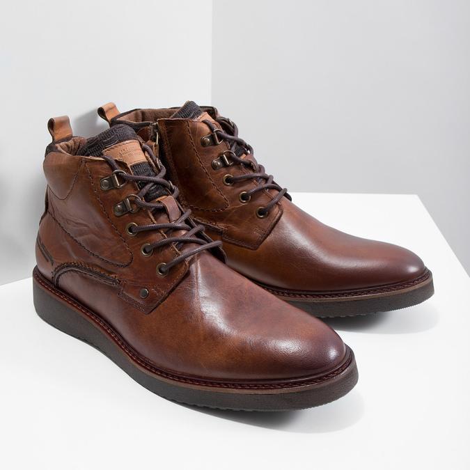 Buty ze skóry za kostkę bata, brązowy, 896-3675 - 18