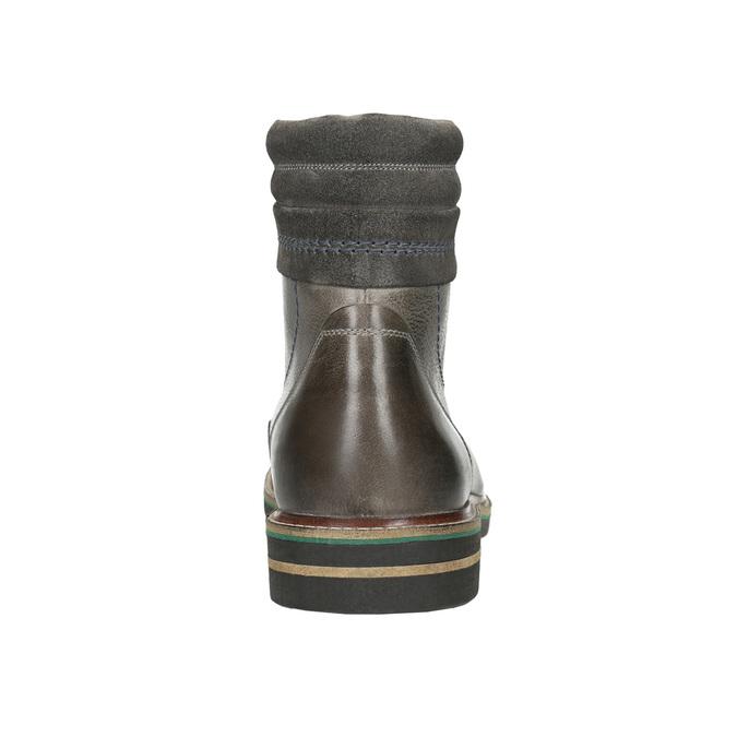Skórzane obuwie za kostkę bata, szary, 896-2686 - 17