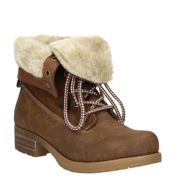 Buty za kostkę z kożuszkiem bata, brązowy, 591-4618 - 13