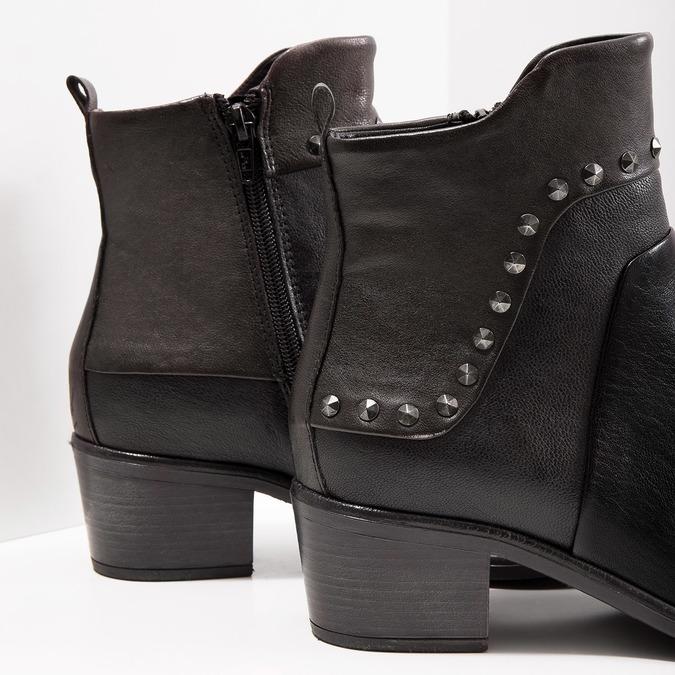 Skórzane botki zmetalowymi ćwiekami bata, czarny, 696-6652 - 14