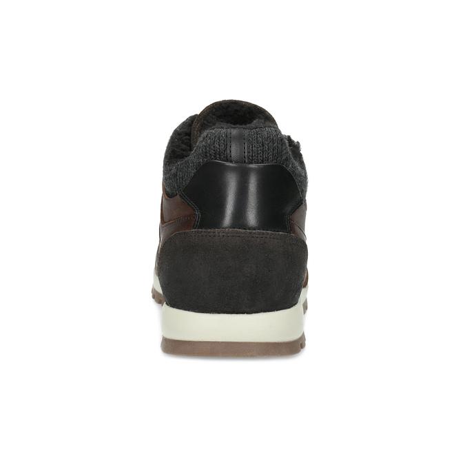 Brązowe skórzane trampki męskie zociepliną bata, brązowy, 846-4646 - 15