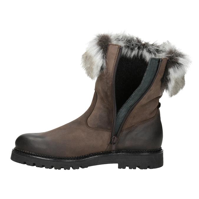 Skórzane buty damskie zfuterkiem bata, brązowy, 594-4657 - 15