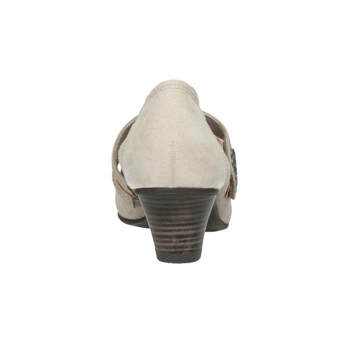 Skórzane czółenka oszerokościH bata, beżowy, 623-2600 - 16