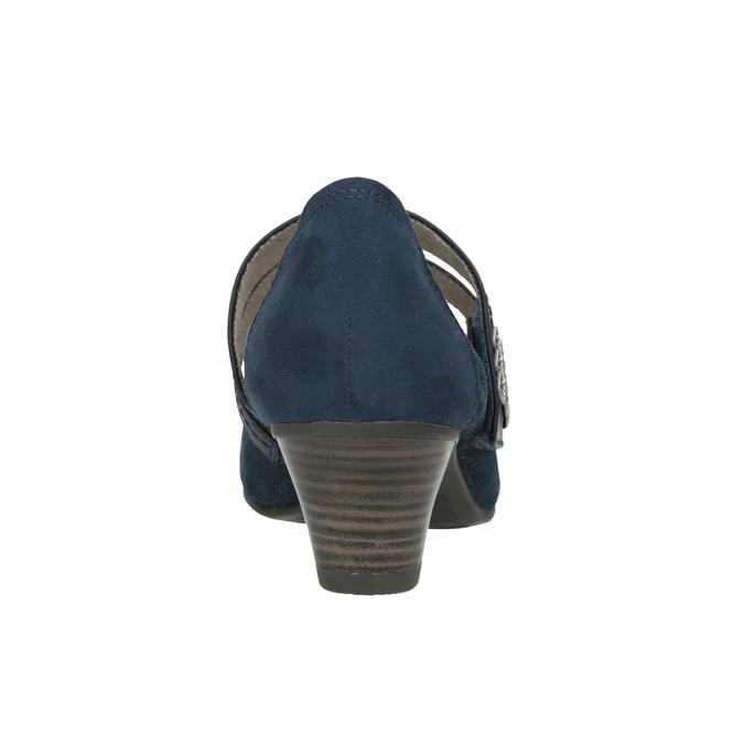 Niebieskie skórzane czółenka oszerokościH bata, niebieski, 623-9600 - 16